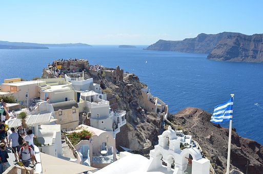Greece, Santorini, Greek Flag, Tourism, Summer, Travel