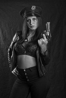 Girl, Officer, Woman, Tempting, Sexy, Pistol, Sensual
