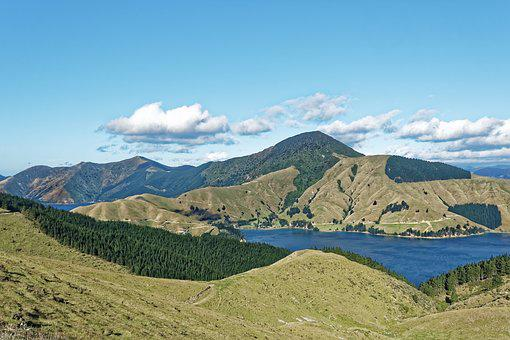 New Zealand, Fitzroy Bay, Bay, South Island, Mountains