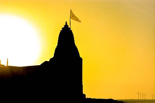 India, Temple, Temple Flag, Flag, Sun, Beach