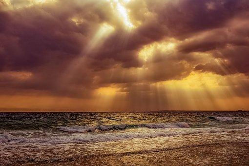Sunset, Sea, Beach, Water, Horizon, Coast, Landscape