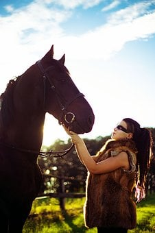 Girl, Sun, Horse, Sky, Warrior, Animal, Silhouette, One