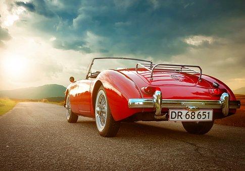 Asphalt, Auto, Automobile, Back, View, Car, Classic