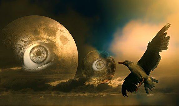 Moon, Eye, Bird, Skies, Fantasy, Science Fiction