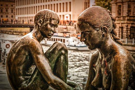 Sculpture, Monument, Statue, Boy, Girl, Naked, Art