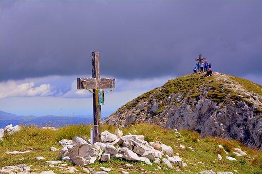 Cross, Top, Mountain, Clouds, Sky, Sassi