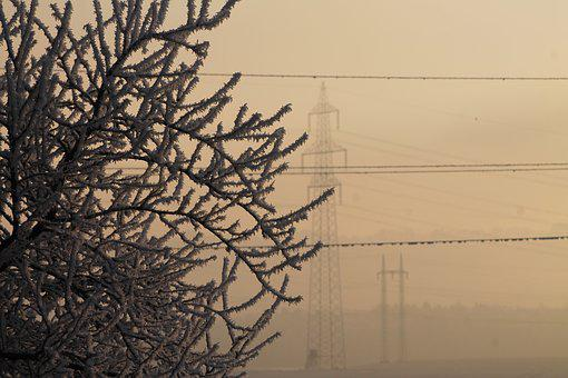 Fog, Winter, Frozen, Iced, Power Line, Morgenstimmung