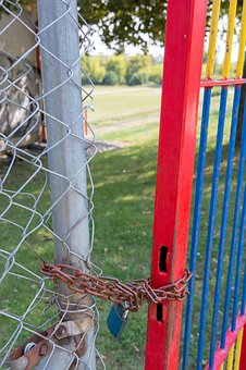 Old, Gate, Locker, Chain, Input, Field, Playground