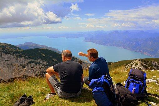 Amici, Pause, Admire, Mountain, Lake, Garda, Landscape