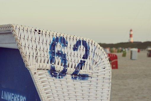 Borkum, Beach, Sea, Landscape, Sunrise, Beach Chair