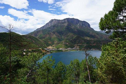 Lugu-lake, China, Landscape, Water, Mountain