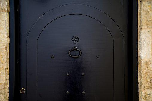 Door, Metal, Iron, Black, Knocker, Exterior