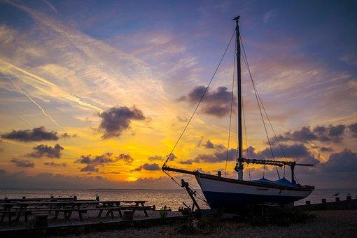 Sunset, Sea, Boat, Sky, Landscape, Mood, Clouds, Coast