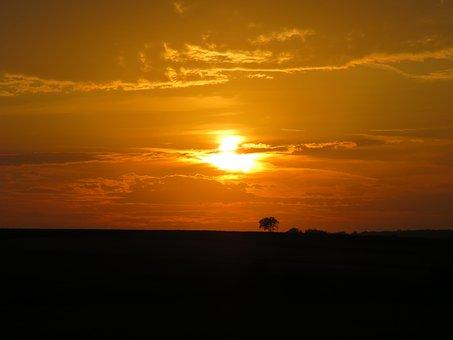 Sunset, Sun, Sky, Nature, Dusk, Abendstimmung, Clouds