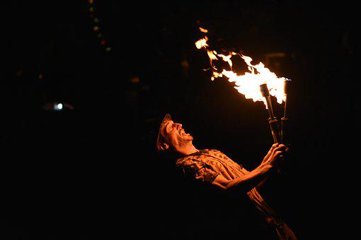 Fire, Performer, Fire Performer, Performance, Night