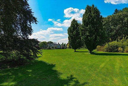 Estate, Open Field, Mansion, Trees, Blue Sky