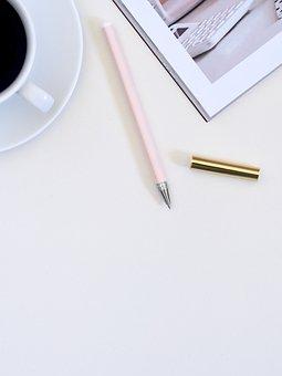 Magazine, Gray, Pink, Pen, Write, Coffee, Drink