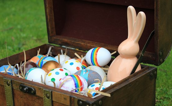 Eggs, Dyed, Rabbit, Bunny, Chest, Trunk, Treasure