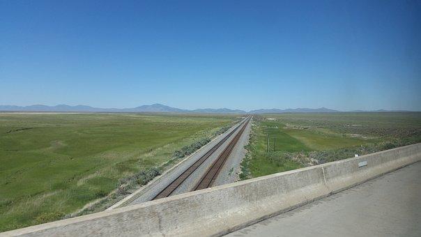 Railroad, Mountain, Sky, Boy, Road, Field, Background