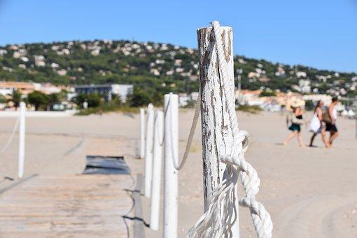 Barrier, Rope, Beach, Sea, Sand, Sète