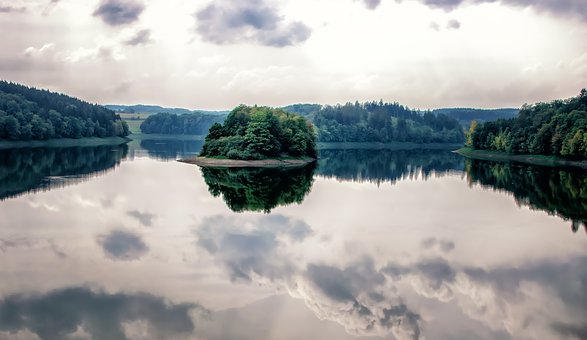 Lake, Island, Water, Landscape, Nature, Sky, Waters