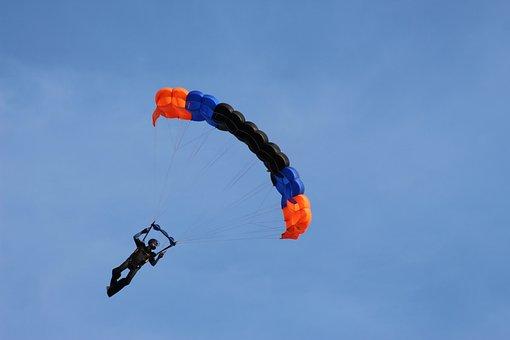 Parachute, Skydive, Parachutist, Flight, Summer
