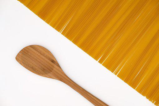 Spaghetti, Noodles, Pasta, Spoon, Wooden Spoon, Cook