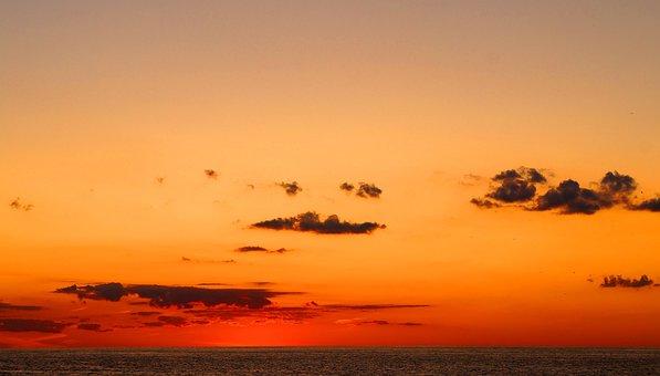 Sunset, Sky, Clouds, Dusk, Mood, Lake, Ocean, Lake Erie