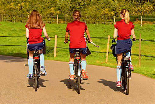 Girl, Three, Cycling, Bicycle, Motion, Destination
