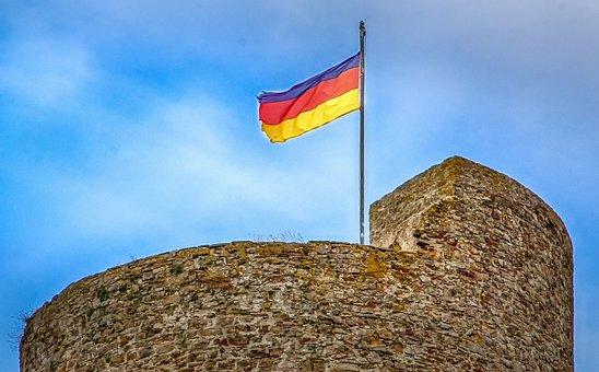 Flag, Symbol, Wall, Castle, Tower, Stone, Stripes
