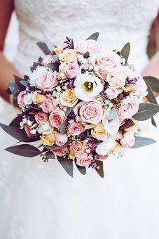 Bridal Bouquet, Bride, Wedding, Woman, White, Love