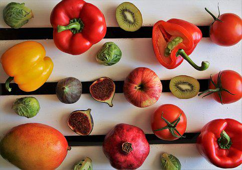 Colorful, Tasty, Paprika, Kiwi, Vegetables, Figs, Fruit