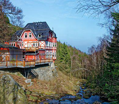 Germany, Resin, Stone Run, Landscape, Building, Water