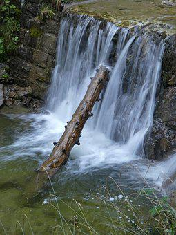 Waterfall, Water, Nature, Bach, River, Green, Wet