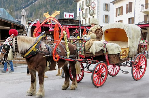 Chamonix, Carriage, Hitch, Traffic, Horse, Drawn, Taxi
