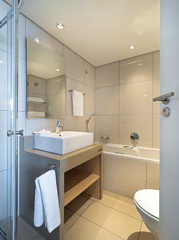 Hotel Bathroom, Interior, Sink, Bath, Home, Toilet
