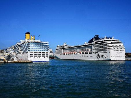 Cruisers, Cruise Ships, Port, Venice, Italy