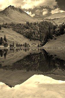 Alpine, Mountains, Lake, Mirroring, Reflection, Forest