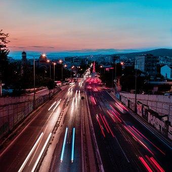 Urban, Long Exposure, City, Light Trails, Cars