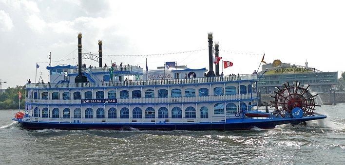 Paddle Steamer, Elbe, Hamburg, Port, Louisiana Star