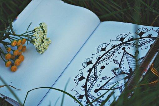 Notebook, Grass, Mandala, Drawing, Nature, Green