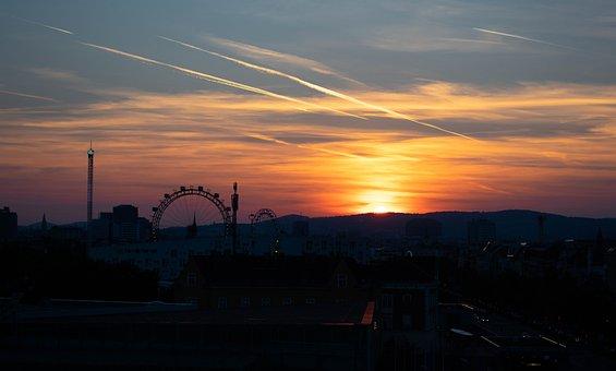 Vienna, Austria, Ferris Wheel, Prater, Evening, Night