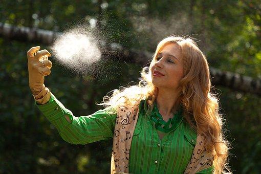 Perfume, Spray, Nature, Woman, Blonde Hair, Gloves