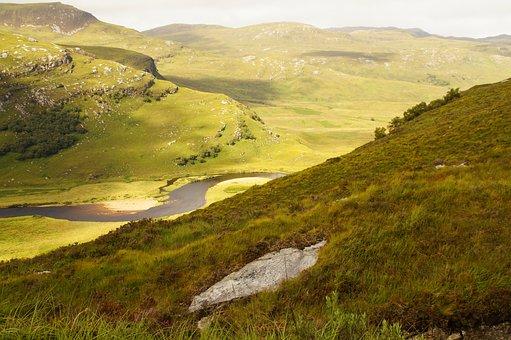 Scotland, Landscape, Green, Ben Hope, Meander, River