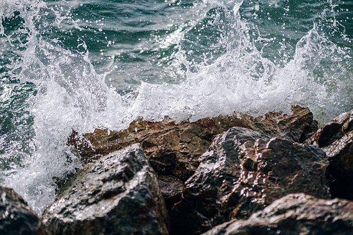 Sea, Waves, Breaking, Rock, Splash, Summer, Beach