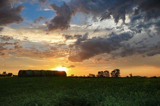 Farm, Storm, Countryside, Sky, Rural, Landscape