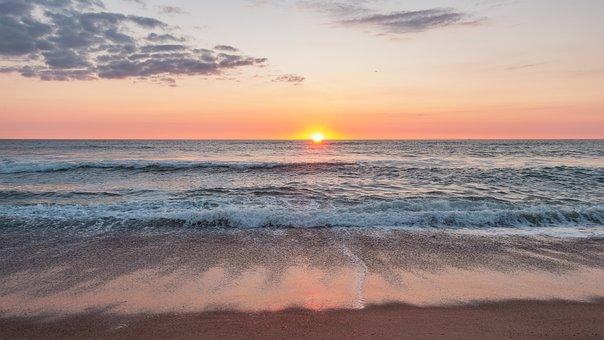 Sunset, Denmark, Beach, Sky, Water, Sea, Coast