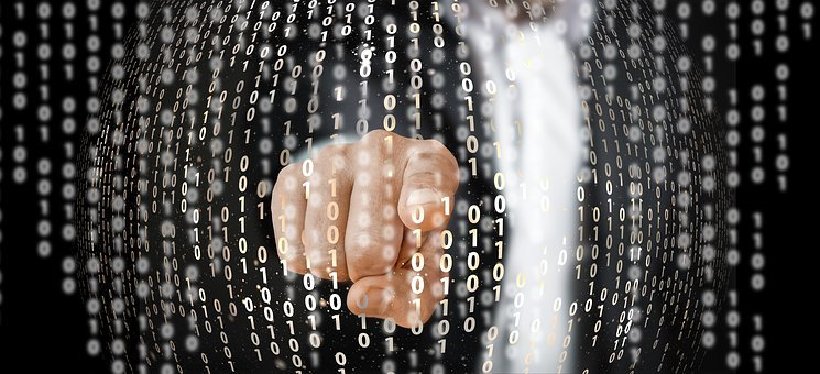 Network, Binary, Null, One, Finger, Touch, Businessman