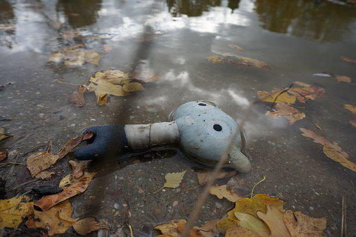 Autumn, Sad, Lost, Toy, Lonely, Water