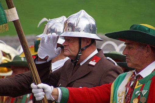 Man, Uniform, Costume, Firefighter, Watchful, Elmo
